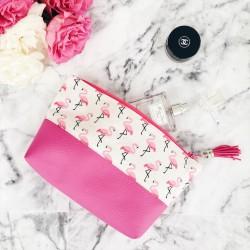 Pochette bi-matière flamants roses beige