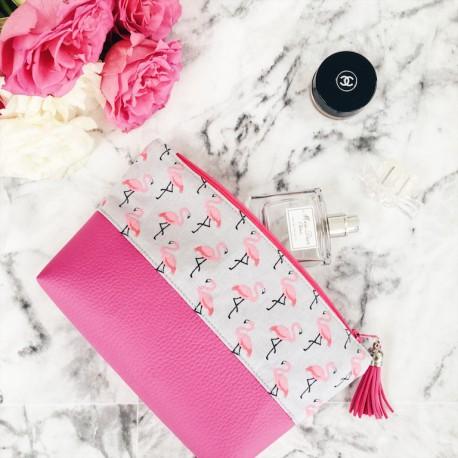 Pochette bi-matière flamants roses gris