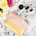 Pochette bi-matière éventail rose doré