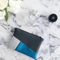 Pochette Mini Charlotte Anthracite/ Pailleté argent/ bleu canard