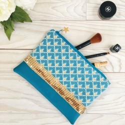 Pochette Bleue paillettes dorées