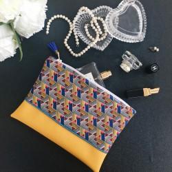 Pochette Moutarde Bleue Wax
