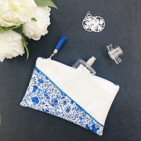 Pochette Lise Fleurs bleues