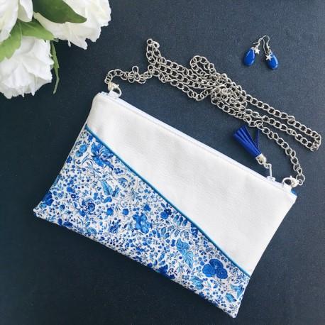 Pochette Lise moyen modèle Fleurs Bleues
