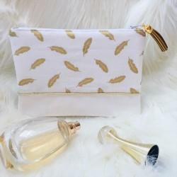 Pochette Frou-Frou blanche plumes dorées