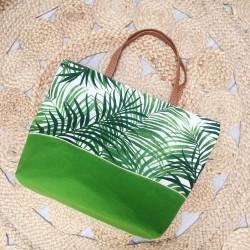 Grand sac cabas / Sac de Plage Tropiques verts