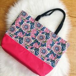Grand sac cabas / Sac de Plage Dahlia rose