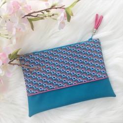 Pochette plumes bleue