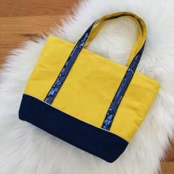 Sac Cabas bleu et jaune, paillettes bleues