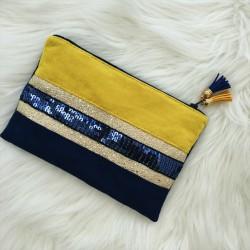 Pochette bleue et jaune à paillettes bleues