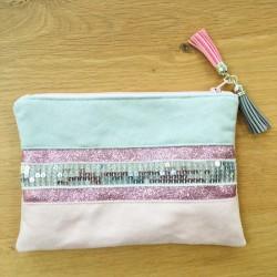 Pochette rose poudré et gris à paillettes argentées