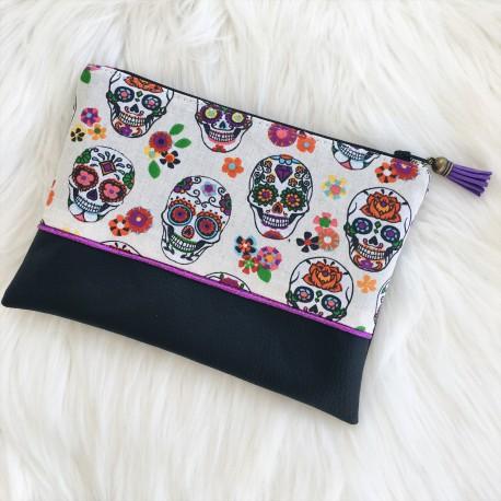 Pochette Noire crânes mexicains