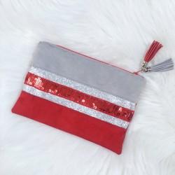 Pochette rouge et gris à paillettes rouges