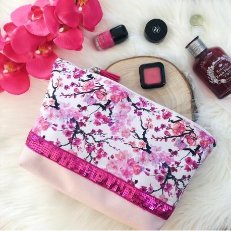 Très grande trousse Sakura paillettes roses