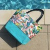 Grand sac cabas / Sac de Plage Tropical bleu