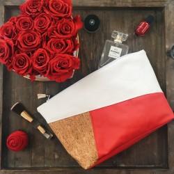 Très grande trousse Charlotte blanc, rouge et liège